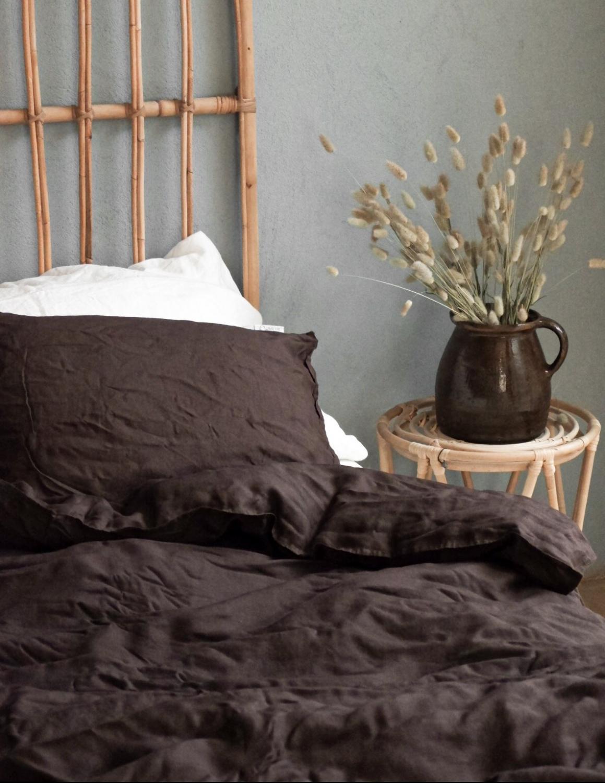 Duvet Cover Set Linen Dark Brown