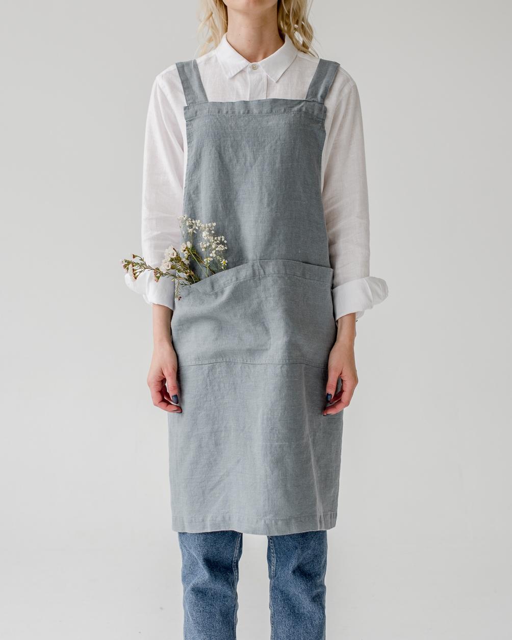 Förkläde blå dimma linne Linen Tales