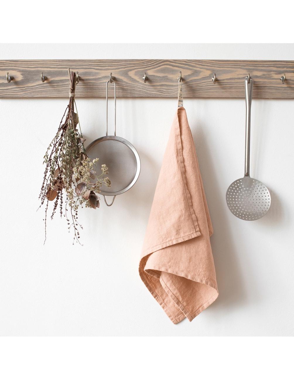 Handmade kitchen towel blush linen Linen Tales