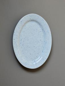 Pure Stain Blue Oval Plate 32cm