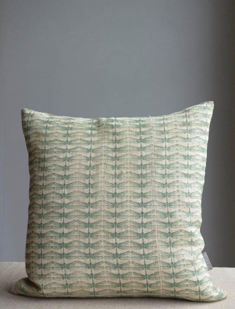 Dragonfly Cushion Celadon 50x50cm