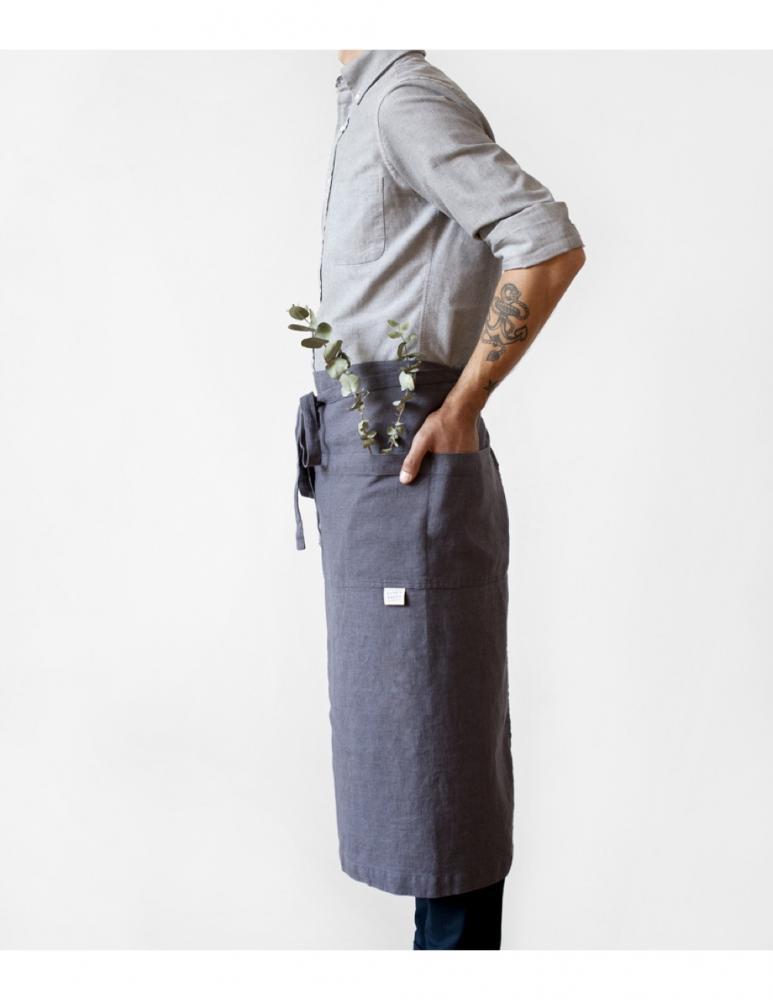 Förkläde profil mörkgrå linne Linen Tales