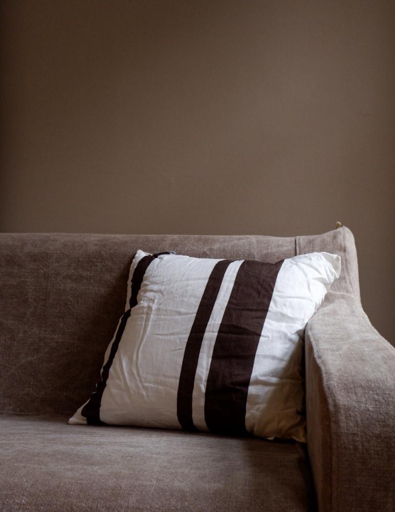 Cushion Linen Striped Dark Brown