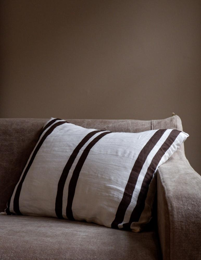 Cushion Linen Striped Dark Brown