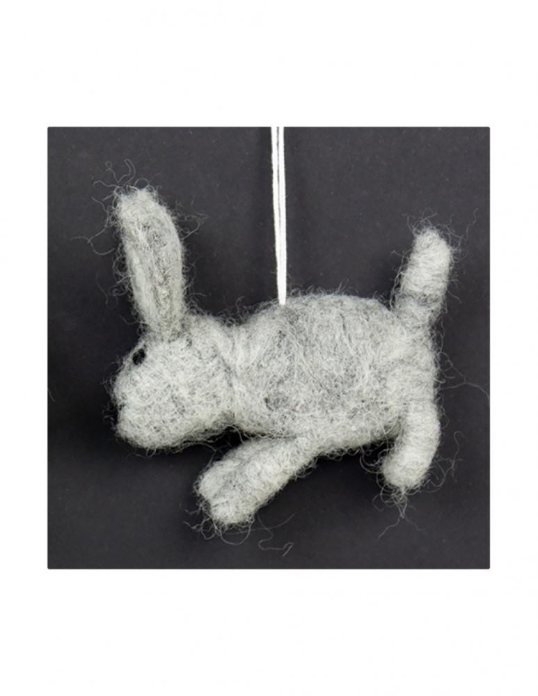 Grey Rabbit Easter Ornament