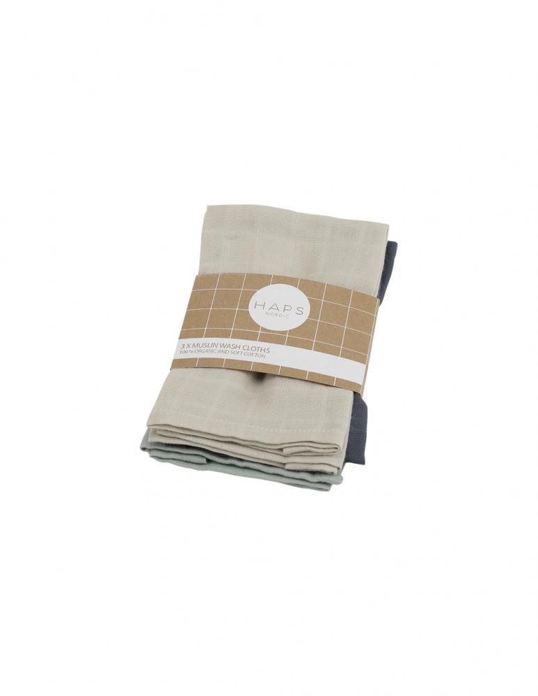Sui 3-pack Muslin Tvättduk Kalla Färg