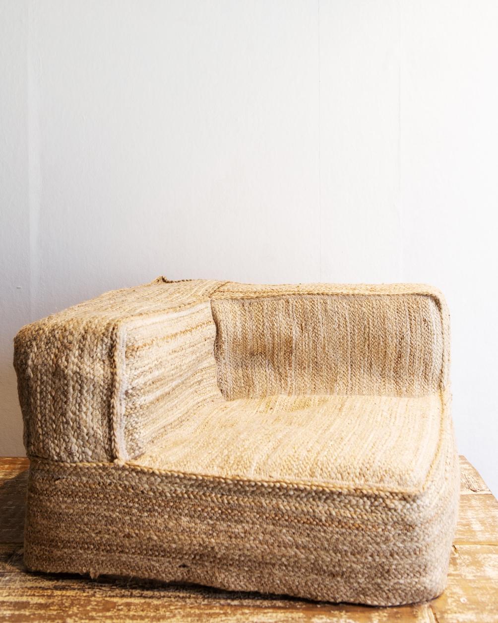 Jute Corner Floor Pillow Cover