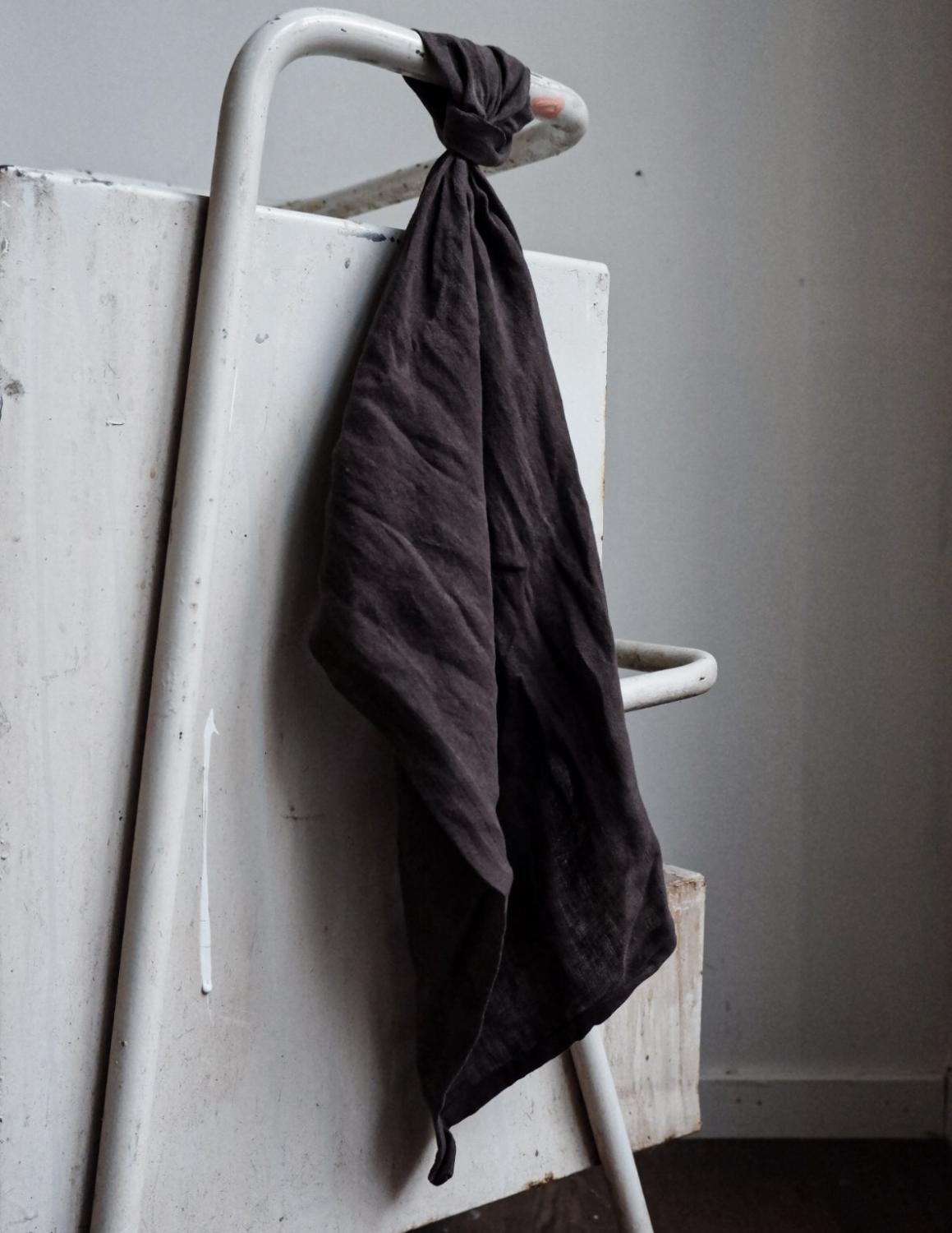 Kitchen Towel Linen Dark Brown