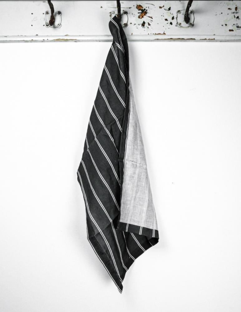 Kitchentowel Linen Striped Dark Grey