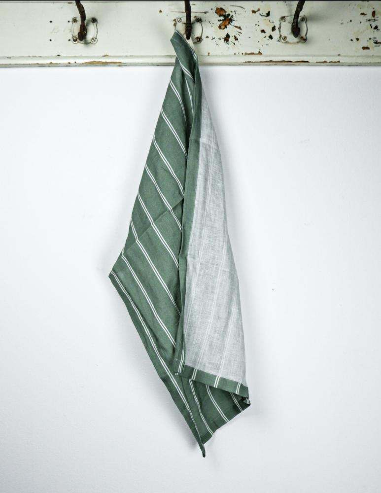 Kitchentowel Linen Striped Mineral Green