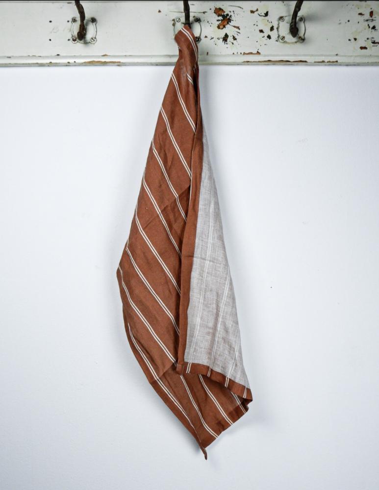 Kitchentowel Linen Striped Terracotta