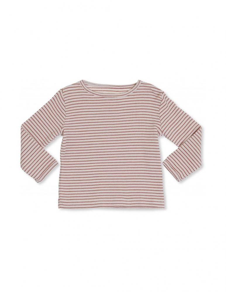 Kaya Long Sleeve T-shirt Beige/Rust Red