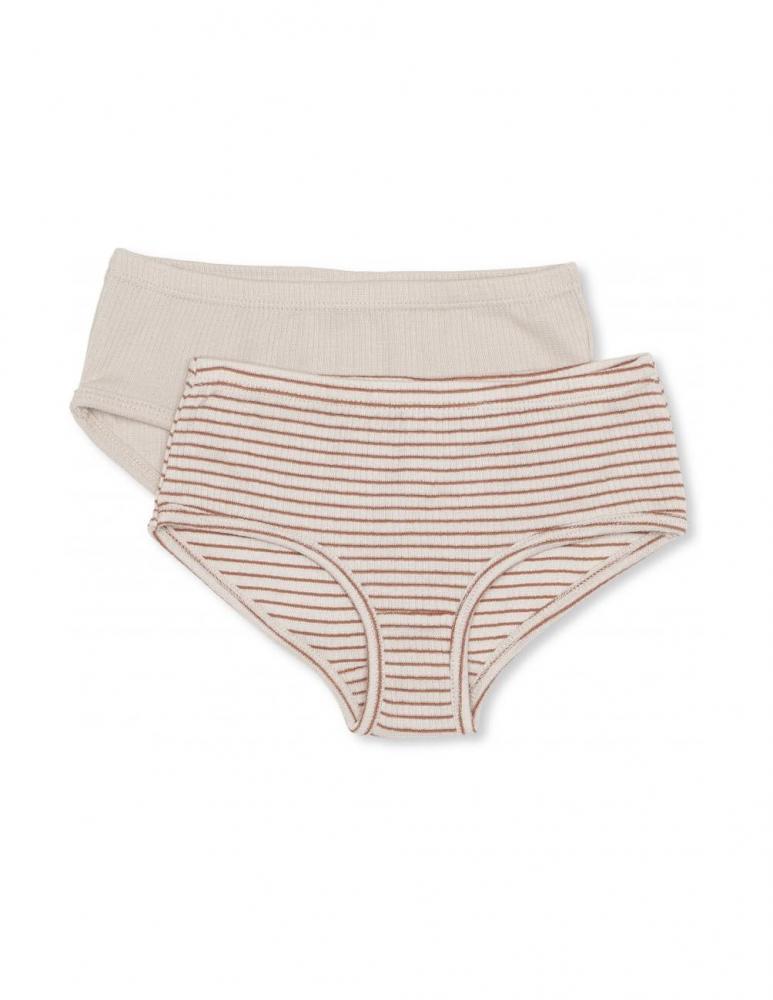 Saya 2-Pack Underpants Beige/Rust Red