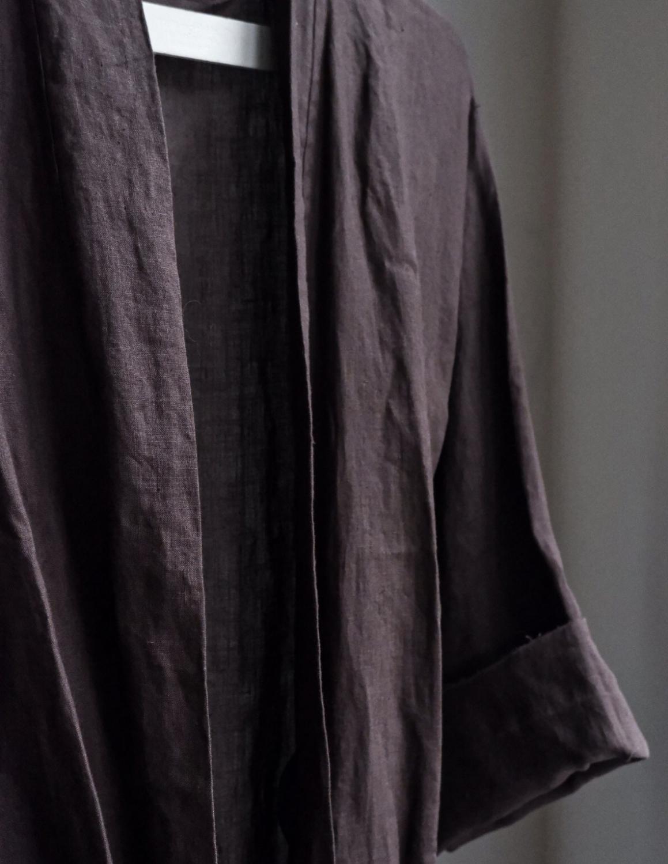 Linen Bathrobe Dark Brown