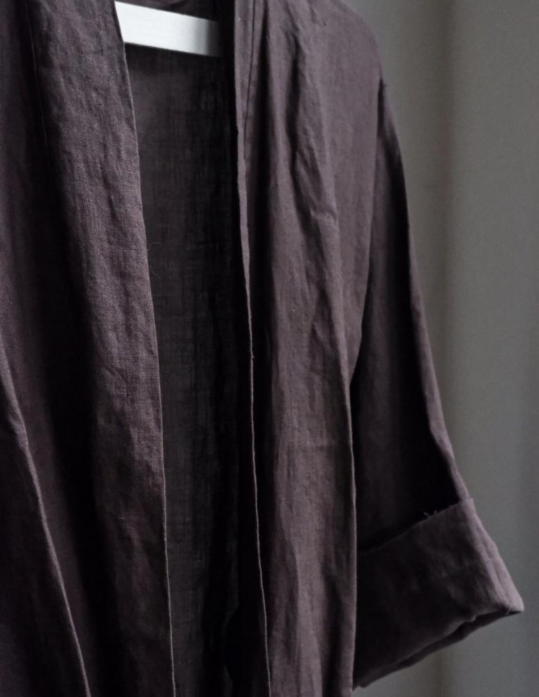 Linen Bathrobe Dark Brown
