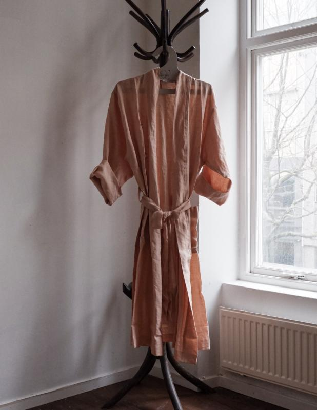 Linen Bathrobe Peach Pink