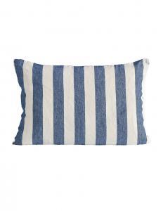 Indigo Striped Linen Cushion Cover 40x60cm
