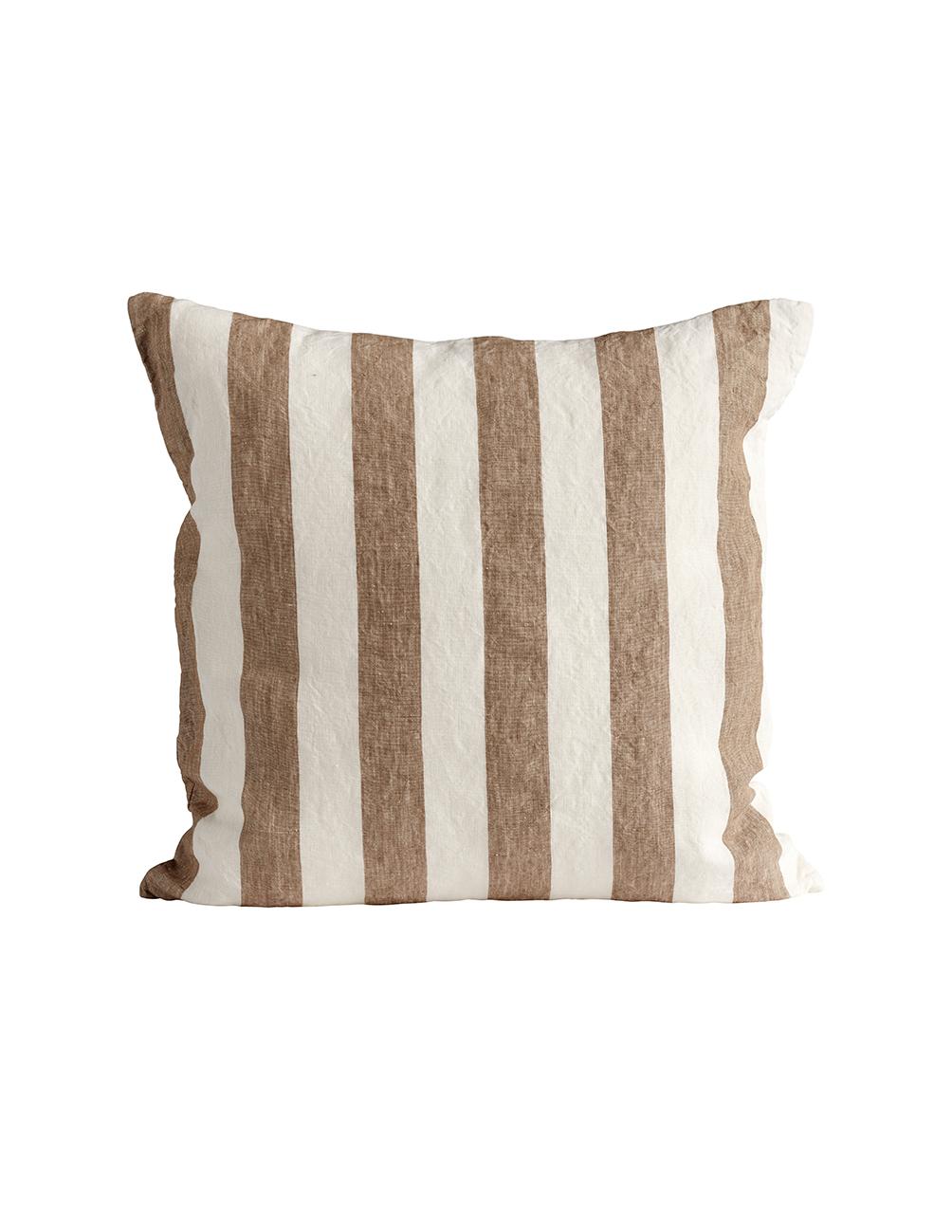 Walnut Striped Linne Kuddfodral 50x50cm