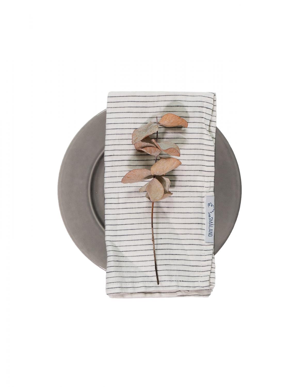Linen Napkin Pinstripe White/Grey