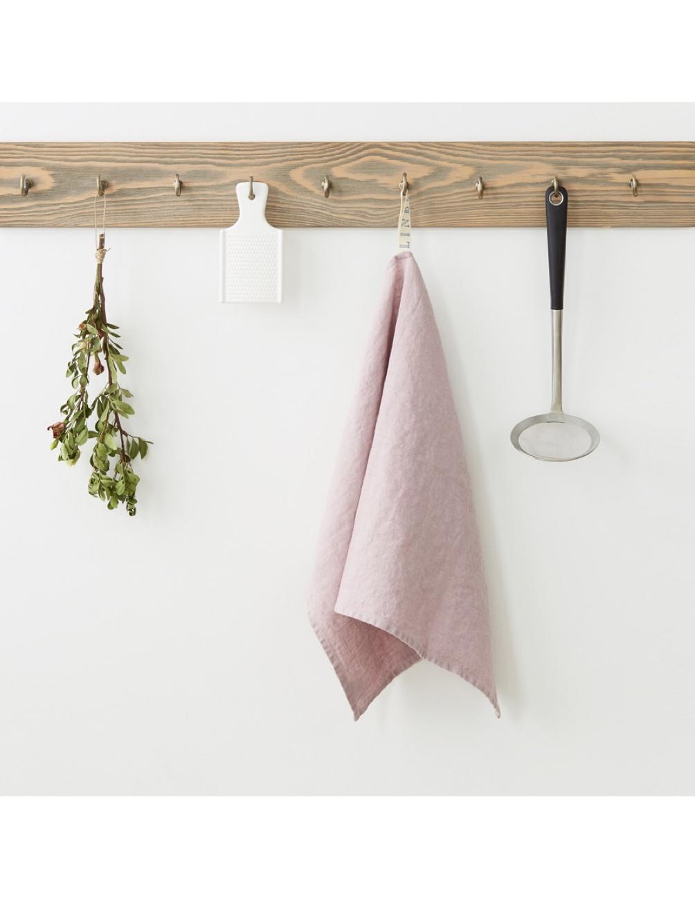 Handgjord kökshandduk rosa lavendel linne Linen Tales