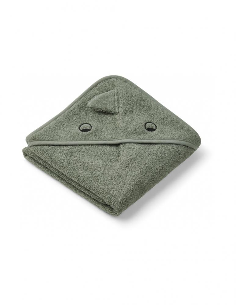 Albert Hooded Baby Towel Dino Faune Green