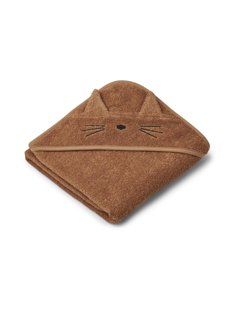 Albert Hooded Baby Towel Cat Terracotta