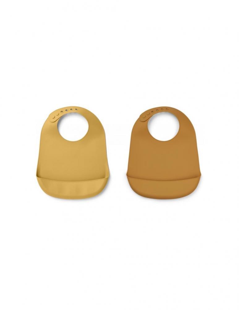 Tilda Silicone Bib Mustard/Yellow Mellow Mix - 2 pack