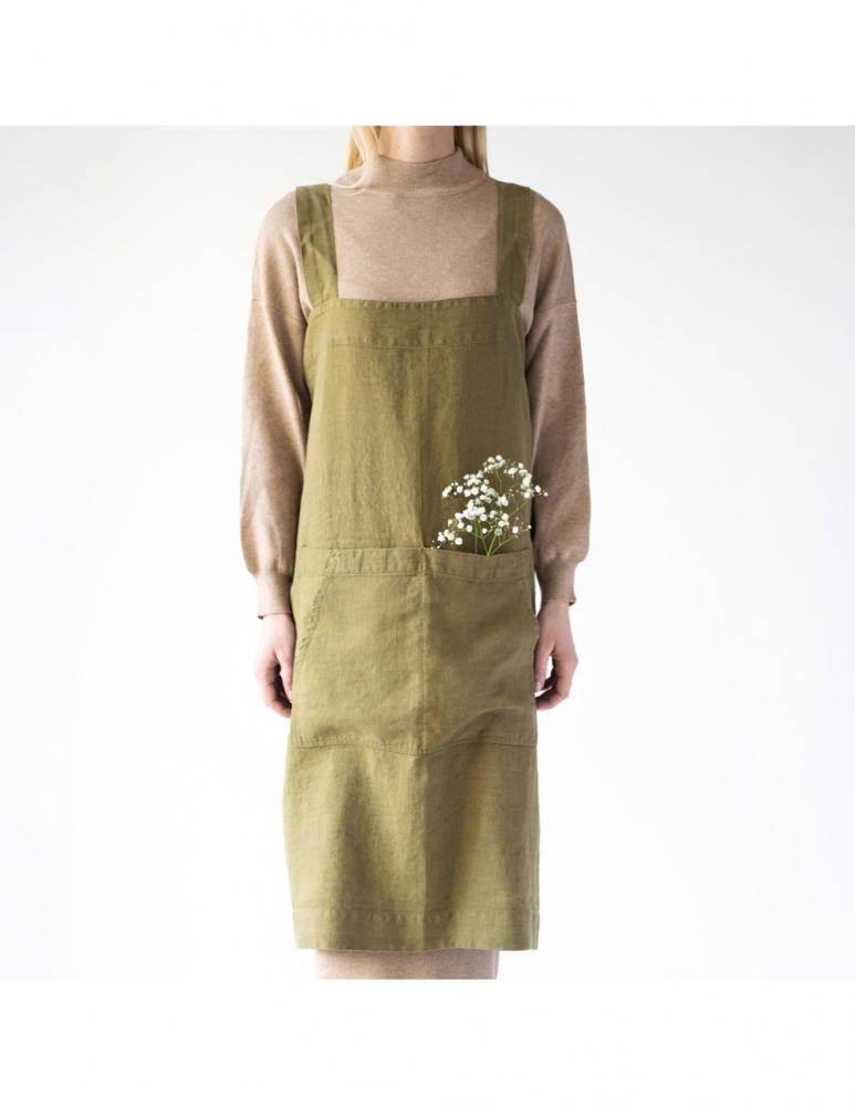 Apron martini olive green linen Linen Tales