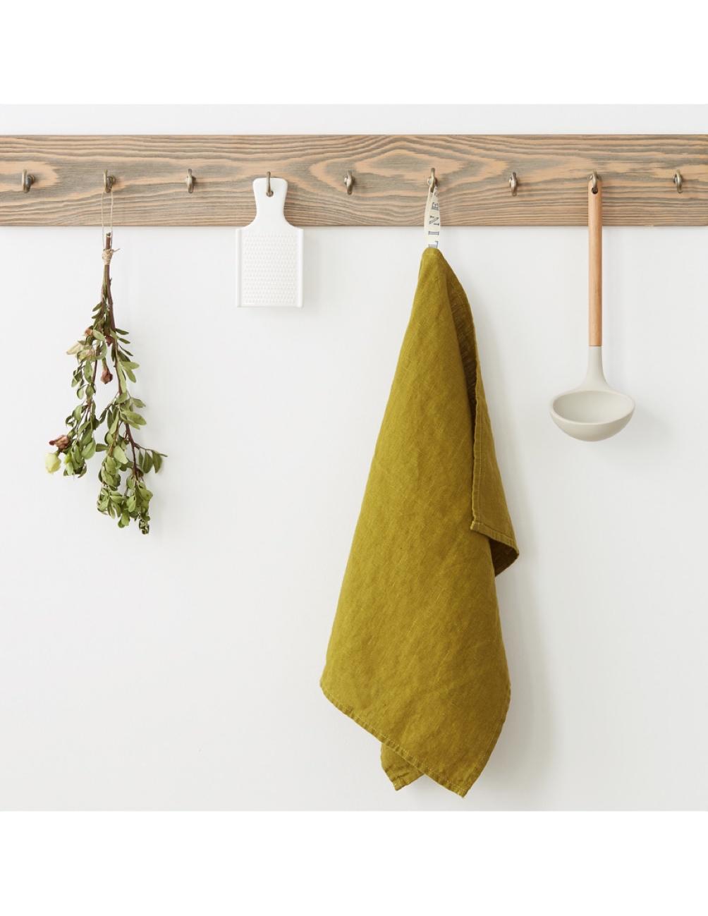 Handmade kitchen towel moss green linen Linen Tales