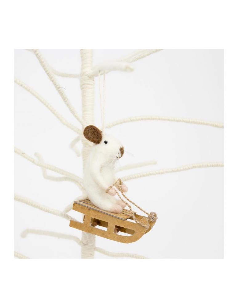 Mouse Sledge Christmas Ornament