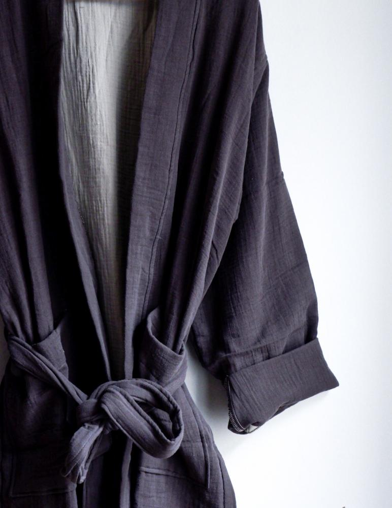 Muslin Bathrobe Dark Grey