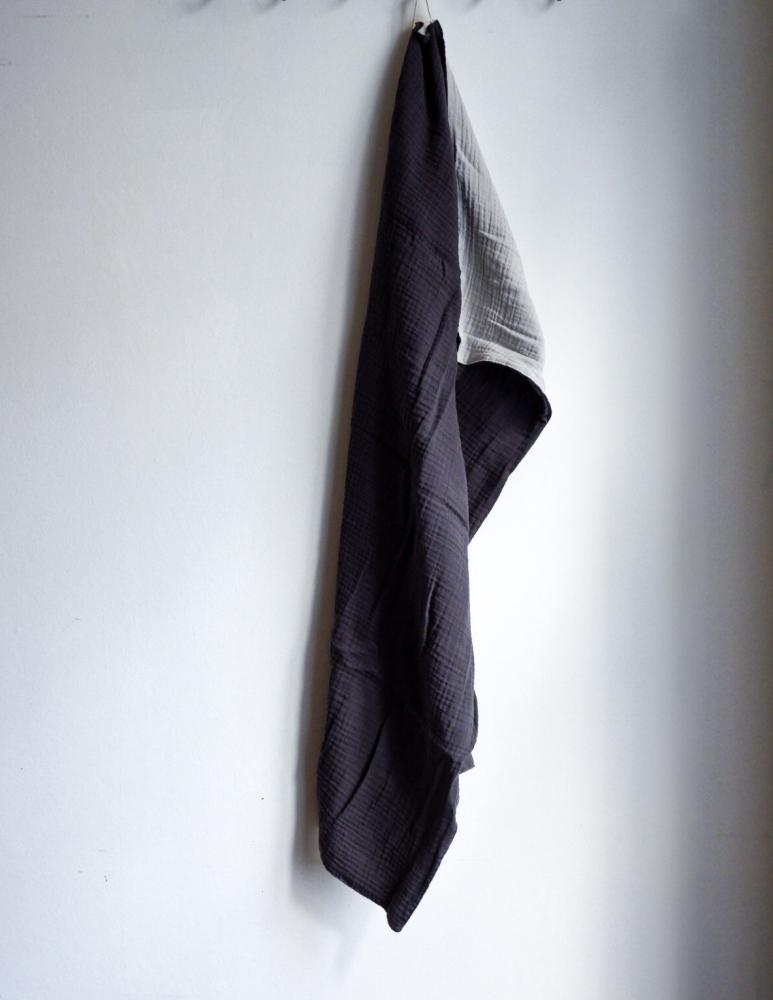 Muslin Handduk Dark Grey/Light Grey