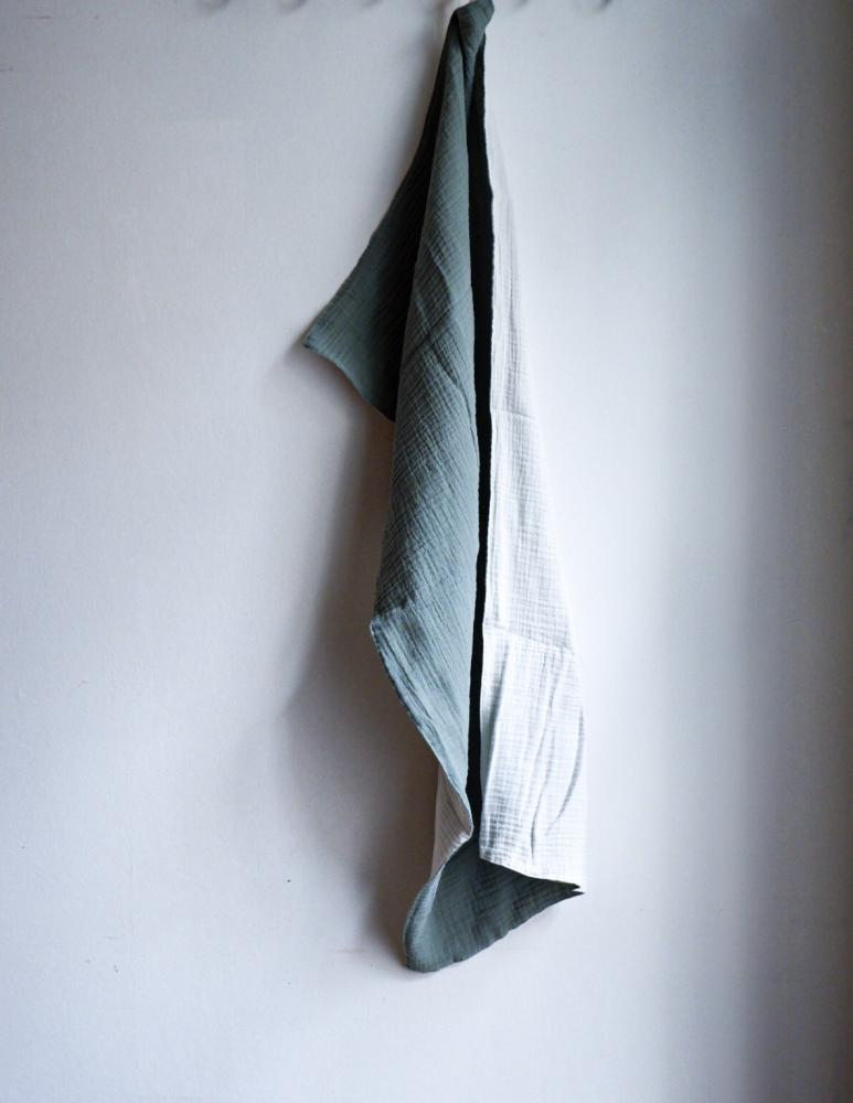 Muslin Towels Mineral Green/White
