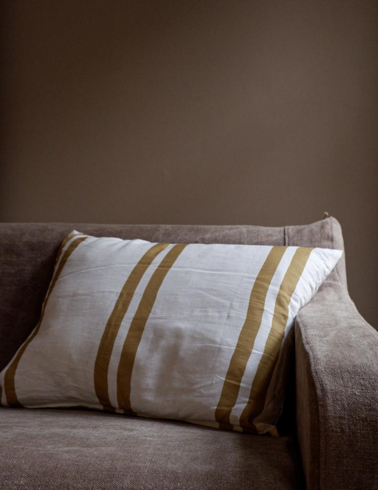 Cushion Linen Striped Mustard Gold
