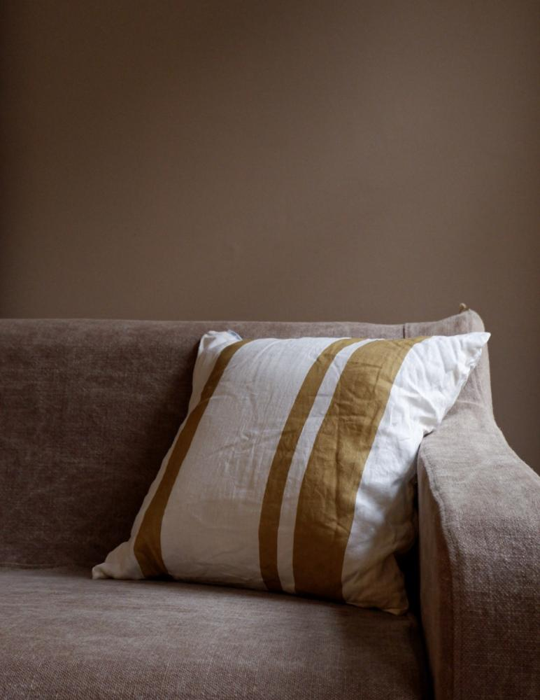 Cushion Linen Striped Mustard Gold