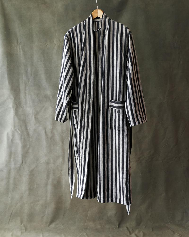 Striped Bathrobe Cotton/Linen