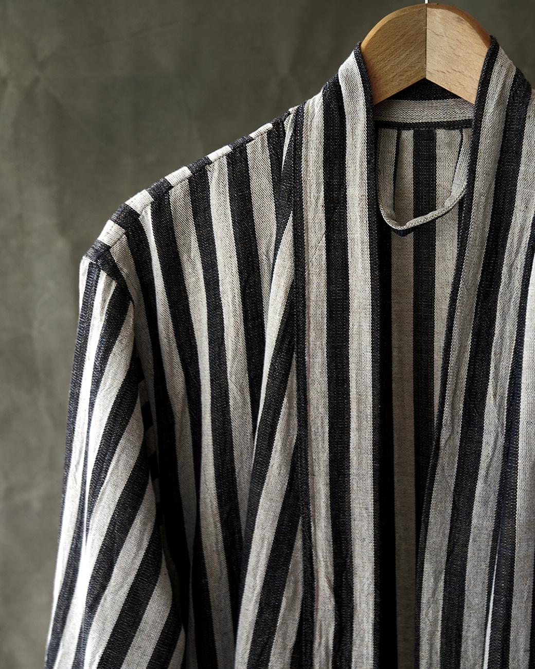 Striped Bathrobe Cotton/Linen