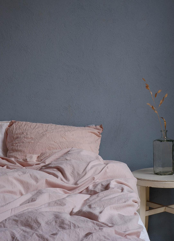 Duvet Cover Set Crinkle Pale Pink
