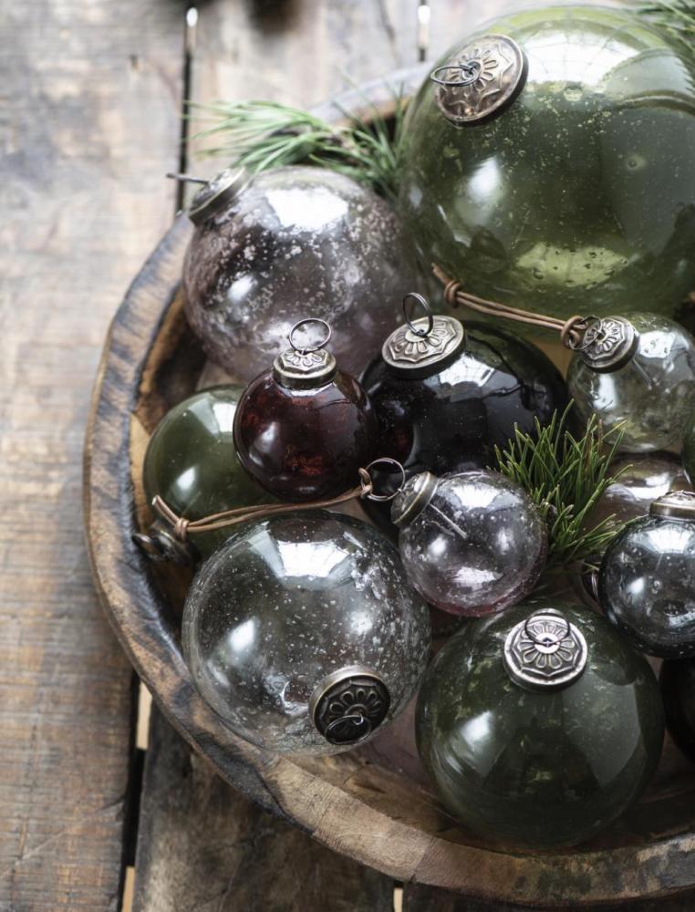 Christmas ball Pebbled Glass Olive