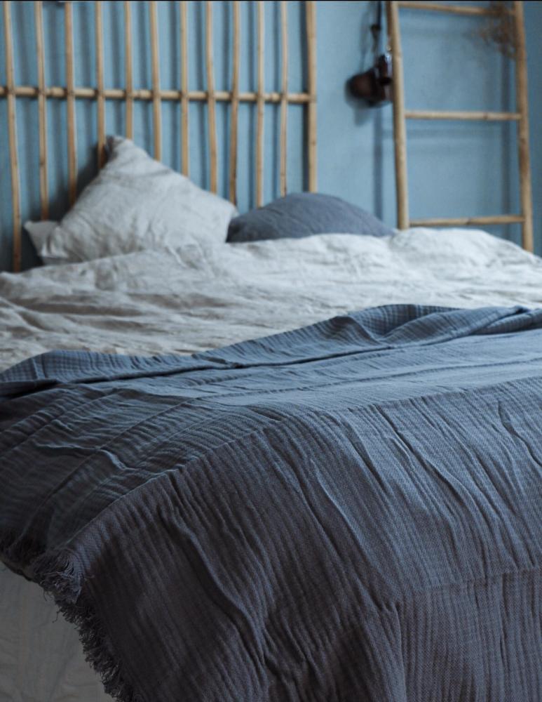 Bedspread Muslin Dusty Blue