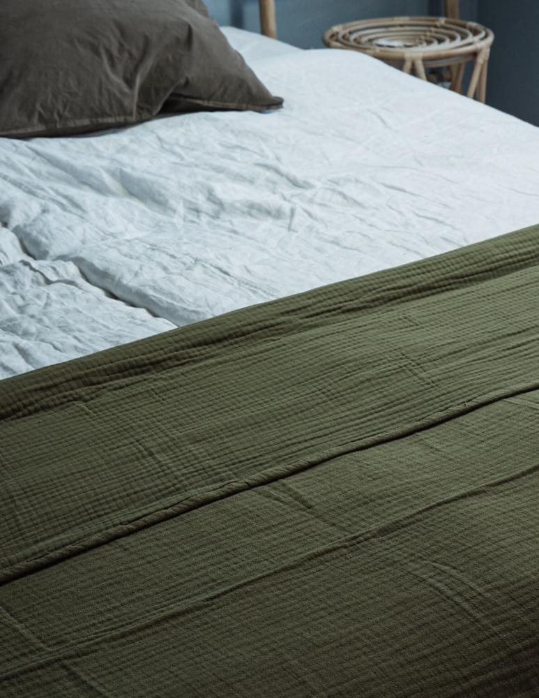 Bedspread Muslin Olive