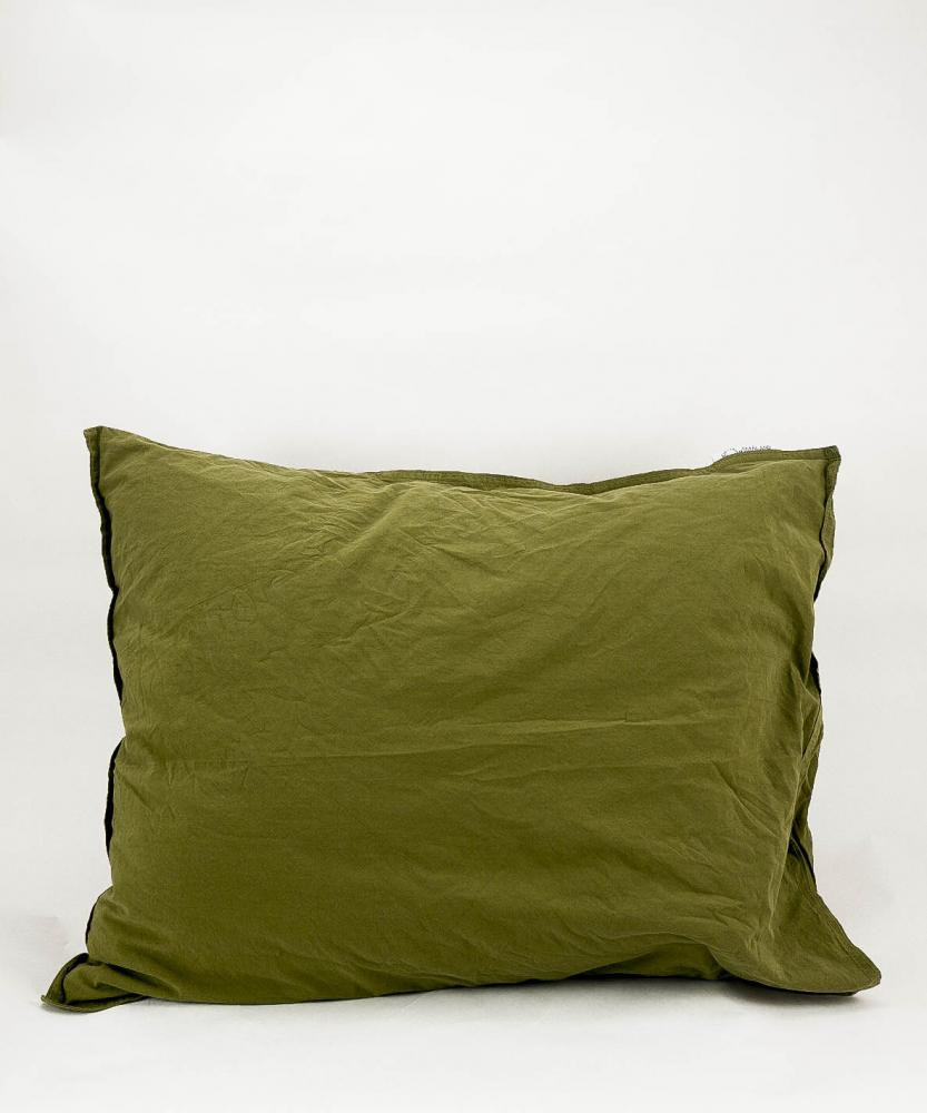 Pillowcase Crinkle Olive Green