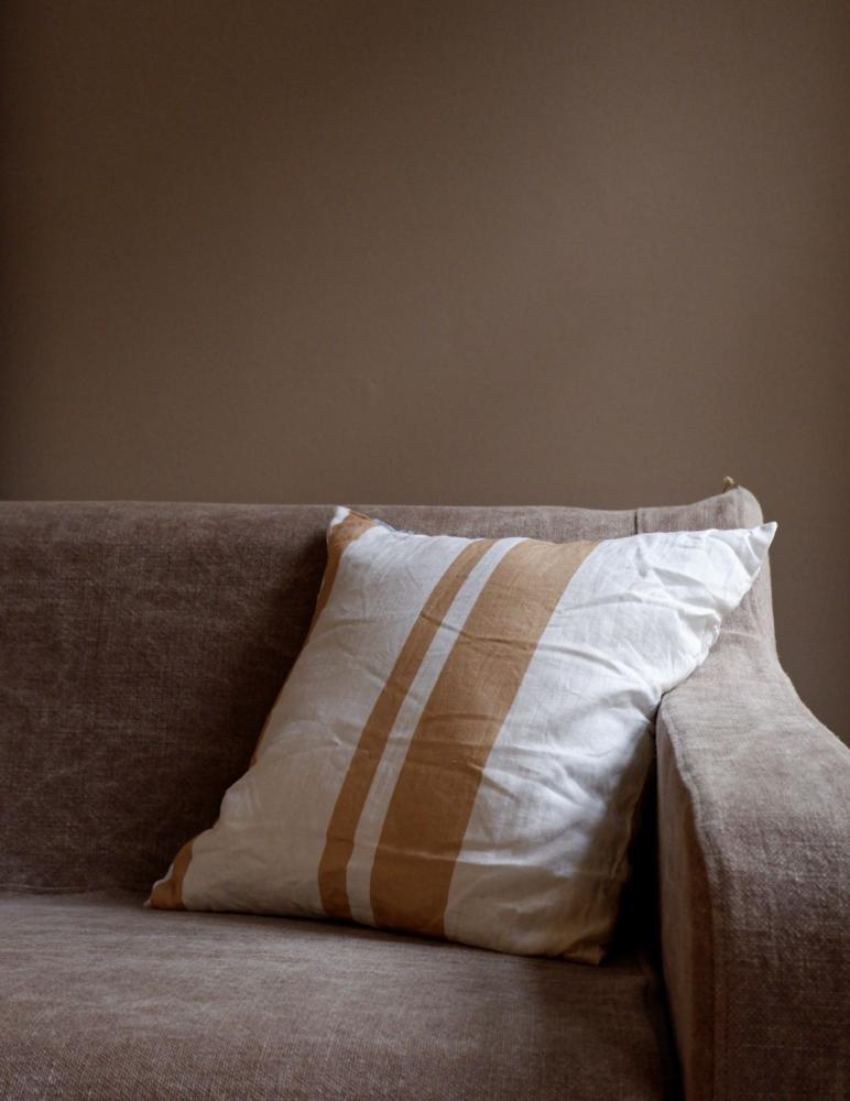 Cushion Linen Striped Peach Pink