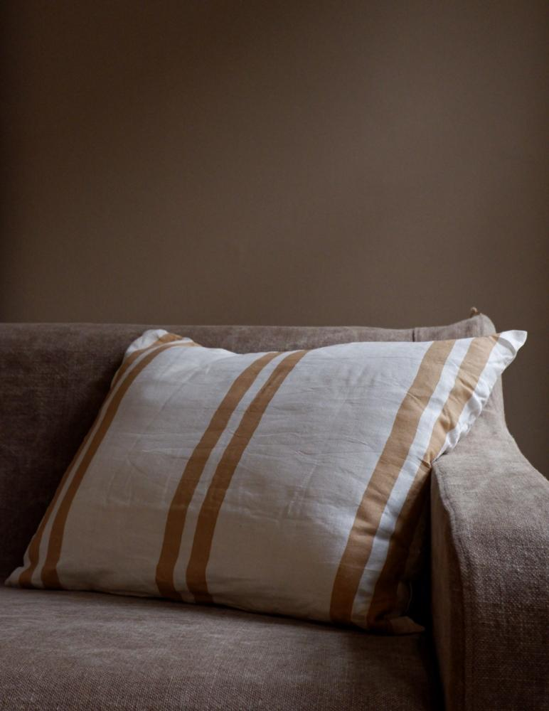 Cushion Linen Striped Peach Pink