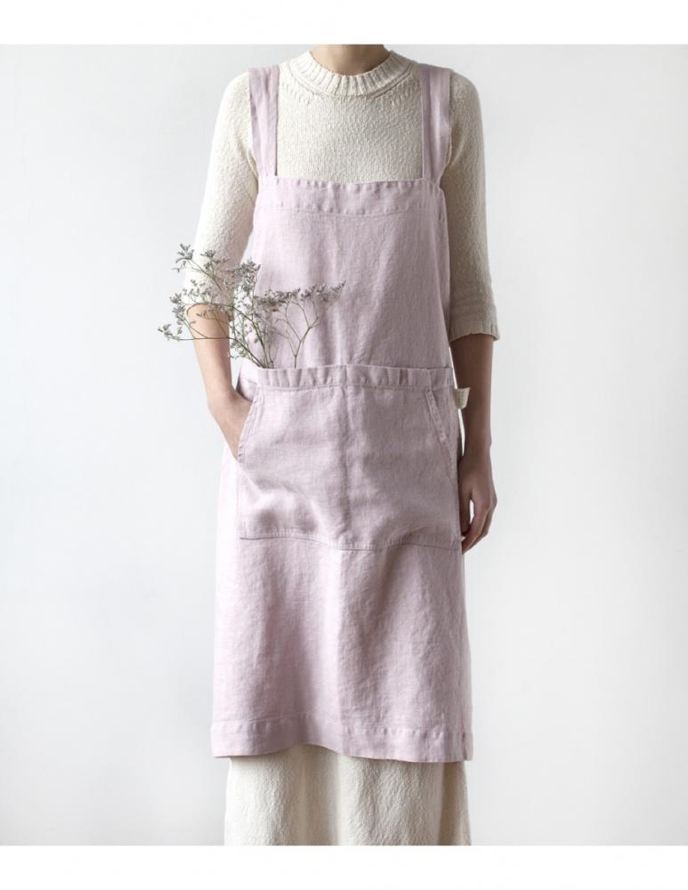 Apron pink lavendel linen Linen Tales