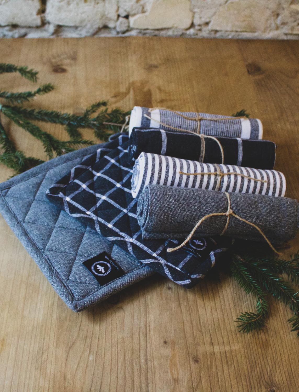 Presentbox Köksset Mörkgrå 4 st Handduk & 2 st Grytlappar