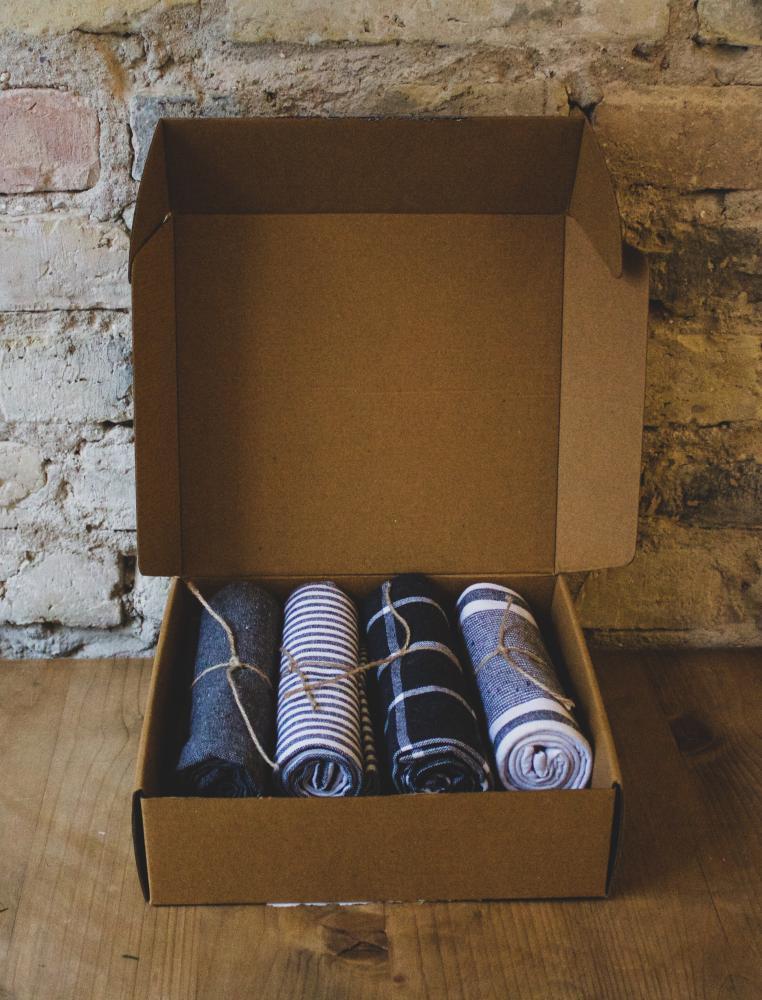 Gift Box Kitchen Set Dark Grey 4 Towel & 2 Potholders