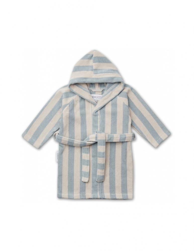 Reggie Bathrobe Striped Sea Blue/Sand