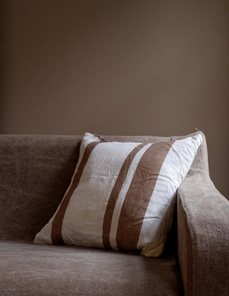 Cushion Linen Striped Rose Taupe