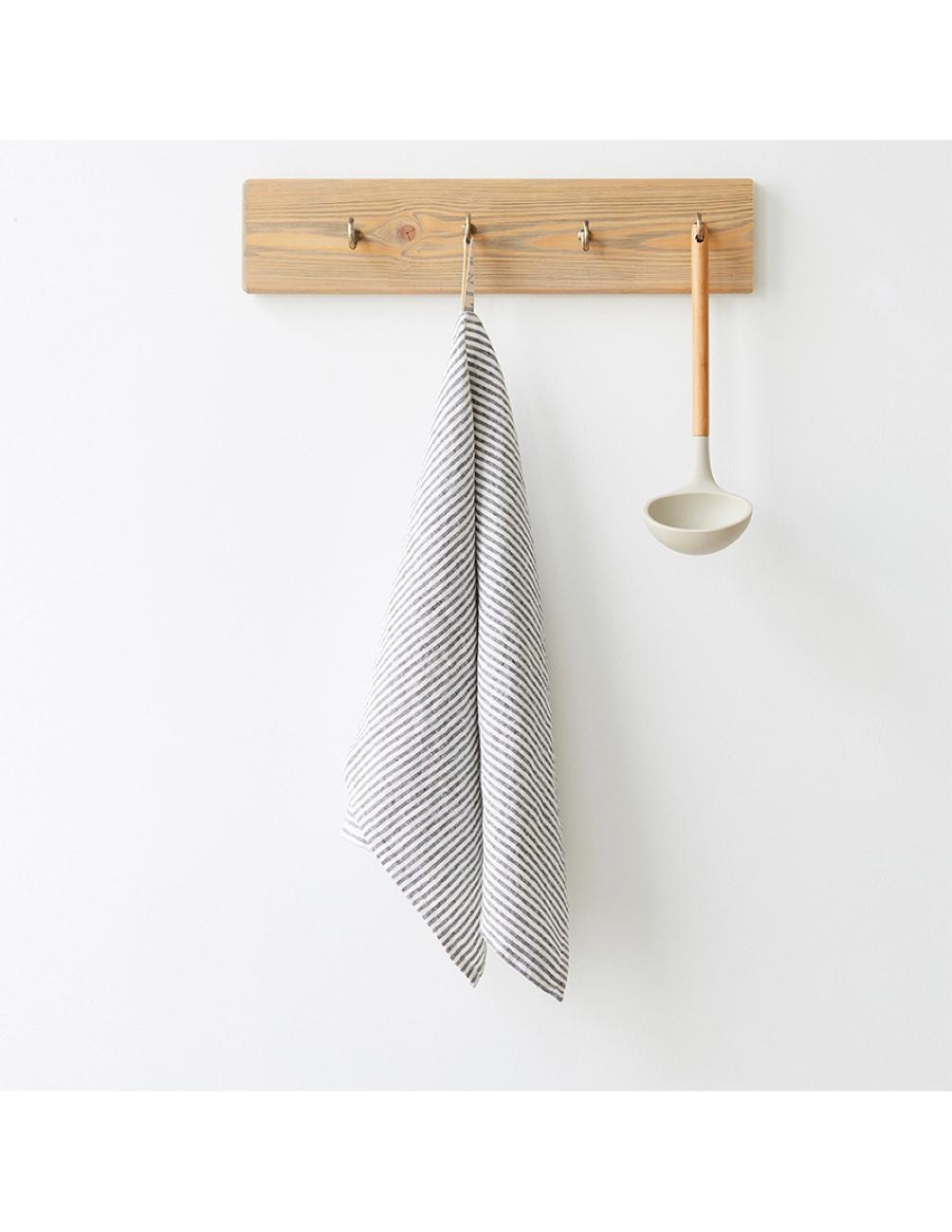 Handmade kitchen towel white black striped linnen